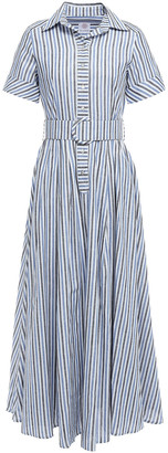 Gül Hürgel Belted Striped Cotton And Linen-blend Maxi Shirt Dress