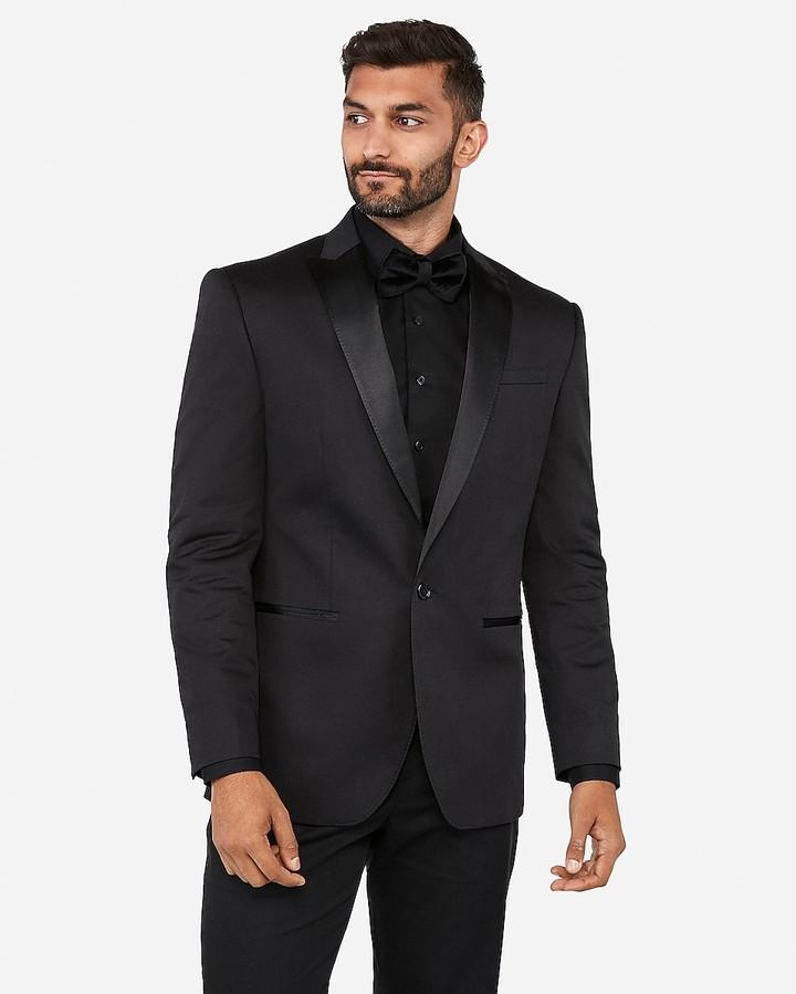 Express Classic Black Satin Peak Lapel Tuxedo Jacket