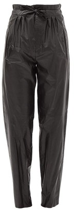Isabel Marant Duard Pleated Faux-leather Trousers - Black