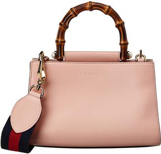 Gucci Pink Calfskin Leather Mini Nymphaea Bamboo Bag