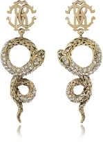 Roberto Cavalli Golden Brass Snake Earrings w/Crystals