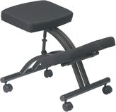 Office Star KCM1420 Ergonomically Designed Knee Chair with Casters, Memory Foam and Black