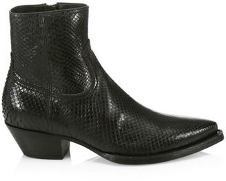 Saint Laurent Lukas Python Leather Ankle Boots