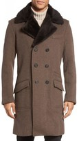 Billy Reid Men's Bowery Cashmere Long Coat With Genuine Nutria Fur Collar
