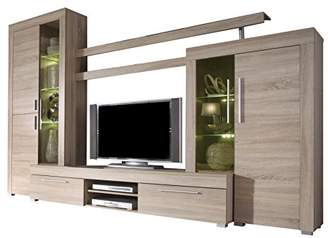 Furnline Boom Rough Cut and Burnished Glass TV Stand Wall Unit Living Room Furniture Set, Light Oak