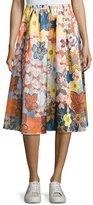 Acne Studios Sabina Floral Satin A-Line Midi Skirt, Pink Pattern
