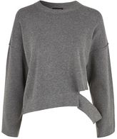Topshop Disconnected hem knitted sweatshirt