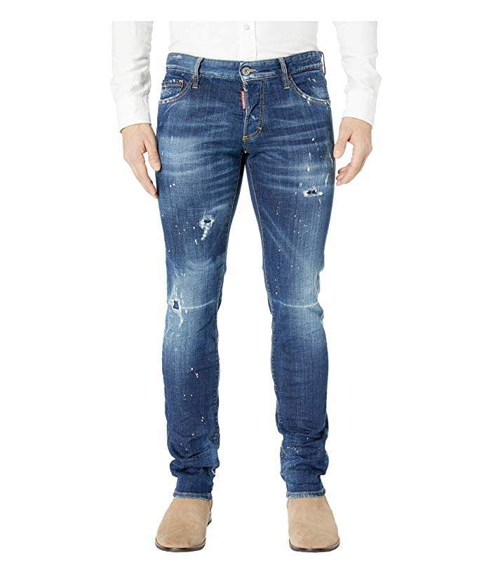 DSQUARED2 Dark Pink Spray Wash Slim Jeans in Blue