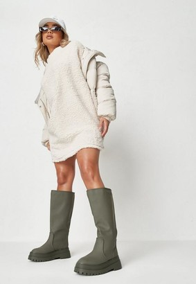 Missguided Cream Borg Crew Neck Sweater Dress