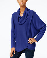 NY Collection Cowl-Neck Tulip-Hem Sweater
