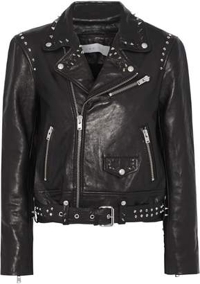 IRO Guara Studded Printed Leather Biker Jacket