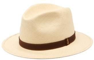 Borsalino Suede-band Straw Panama Hat - Mens - Cream