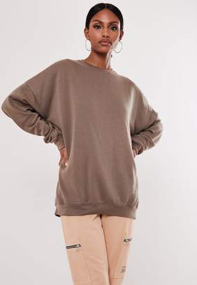 Missguided Brown Extreme Oversized Washed Sweatshirt