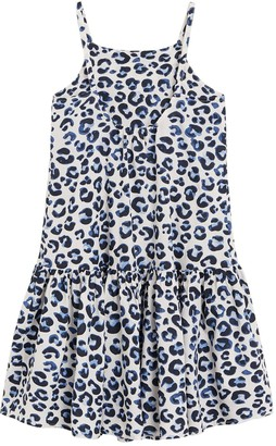 MANGO Girls Strappy Leopard Print Maxi Dress - White