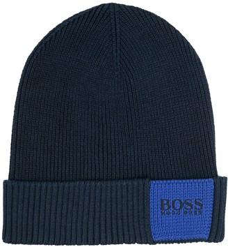 HUGO BOSS Logo-Patch Knitted Beanie
