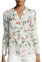 Joie Devitri Ikat Floral Printed Silk Blouse