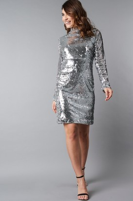 NA-KD High Neck LS Sequins Dress