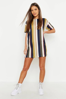 boohoo Petite Tonal Short Sleeve Shift Dress