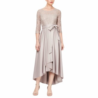 Ignite Evenings Women's Long Sleeve Sequin Lace Hilo Mikado Skirt Gown
