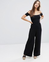 Asos Halloween Bardot Jersey Jumpsuit with Wide Leg