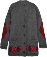 Isabel Marant Geena Oversized Argyle Wool And Alpaca-blend Cardigan - Gray
