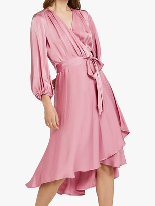 Ghost Aggie Waist Tie Wrap Dress, Pink