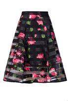 Quiz Black Mesh Floral Print Flare Midi Skirt