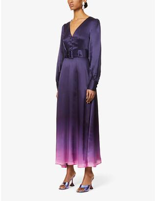 Olivia Rubin Victoria dip-dye pattern silk-satin midi dress