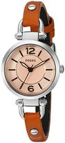 Fossil Women's Quartz Stainless Steel and Leather Automatic Watch, Color:Brown (Model: ES4025)