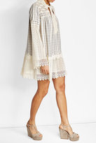 Anna Sui Cotton Dress with Embroidery and Lace