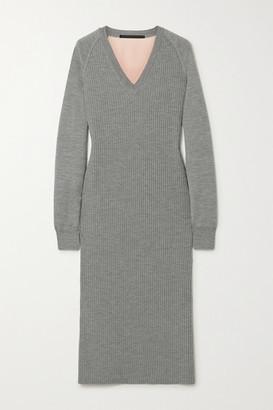 Haider Ackermann Ribbed Wool And Silk-satin Midi Dress - Gray