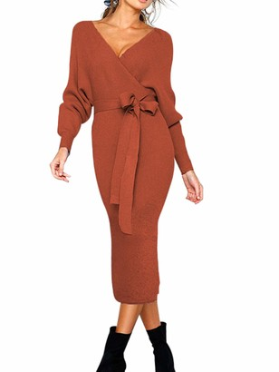Sexy Dance Women's Wrap V-Neck Jumper Dress Elegant Solid Long Sleeve Lace-up Backless Knitted Sweater Side Slit Pencil Midi Dress Winter XL Yellow