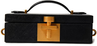 Oscar de la Renta Textured-leather Box Clutch