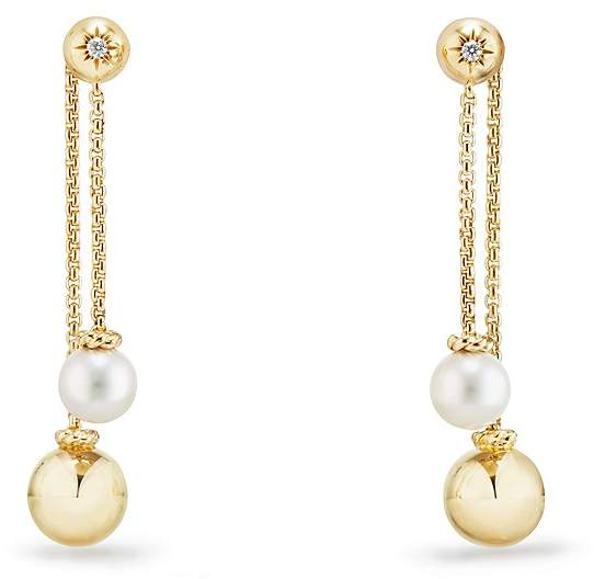 David Yurman Solari Chain Drop Earrings with Cultured Akoya Pearls and Diamonds in 18K Gold