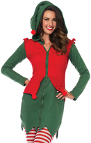 Leg Avenue Green & Red Zip-Up Fleece Elf hooded Dress