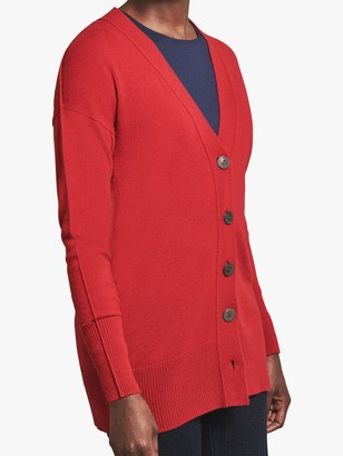 Pure Collection Cashmere V-Neck Cardigan, Cherry