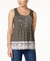 Charter Club Petite Embroidered Mixed-Print Top, Only at Macy's