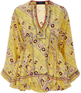 Isabel Marant Silk Printed Yellow Peplum Top
