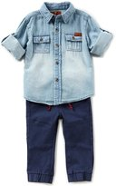 7 For All Mankind Baby Boys 12-24 Months Denim Button-Front Shirt & Twill Jogger Pant Set