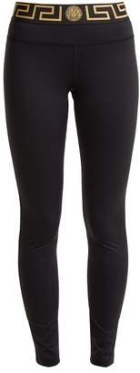 Versace Logo Print Performance Leggings - Womens - Black Gold