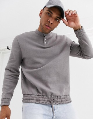 BEIGE Asos Design ASOS DESIGN relaxed fit sweatshirt with grandad collar and elasticated hem in marl-Brown