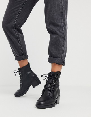 Sorel Cate lace up mid heel ankle boots in black