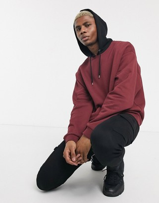 Asos Design DESIGN oversized hoodie in burgundy with black hood-Red