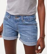 LOFT Tipped Denim Roll Shorts in Light Stonewash