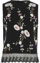 River Island Girls black floral embroidered sleeveless top