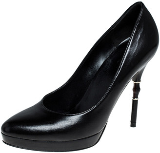 Gucci Black Leather Bamboo Heel Platform Pumps Size 37