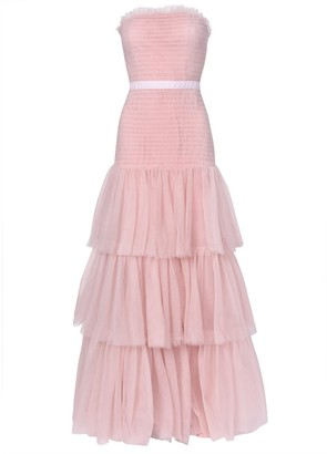 True Decadence Nude Pink Strapless Tulle Layered Maxi Dress