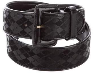 Christian Dior Leather Argyle Belt