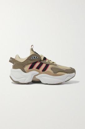 adidas Magmur Runner Mesh, Suede And Leather Sneakers - Army green