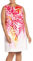 Ellen Tracy Plus Size Women's Placed Print Sleeveless Sheath Dress